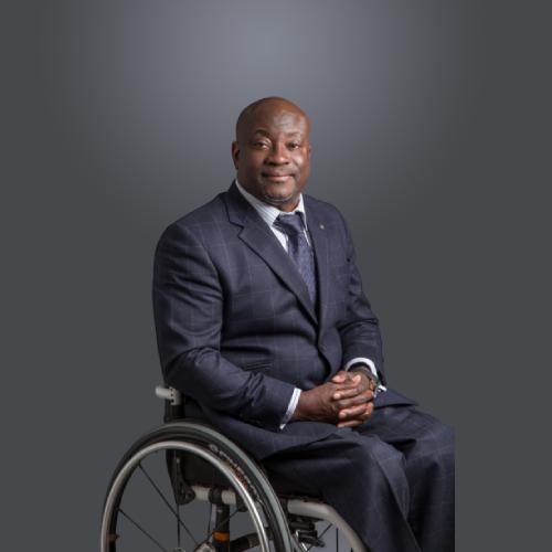 Mark Esho in his wheelchair