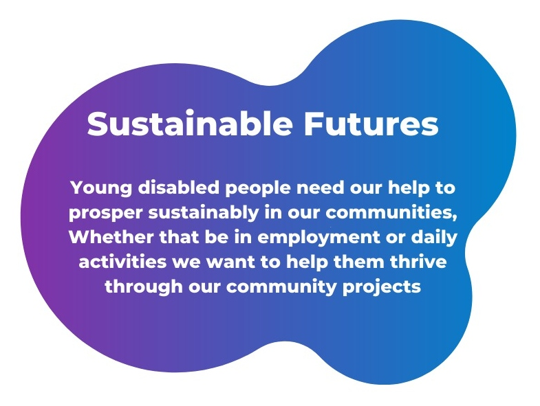 Young disabled people need our help to prosper sustainably in our communities, whether that be in employment or daily activities, we want to help them thrive through our community projects.